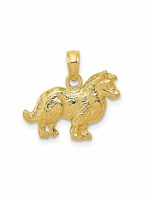 14k Yellow Gold Standing Collie Dog Charm Pendant - 17x15mm 1.25 Grams