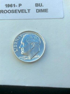 """1961-P Silver Roosevelt Dime Choice/Gem Bu.With """"Mint Luster"""""""
