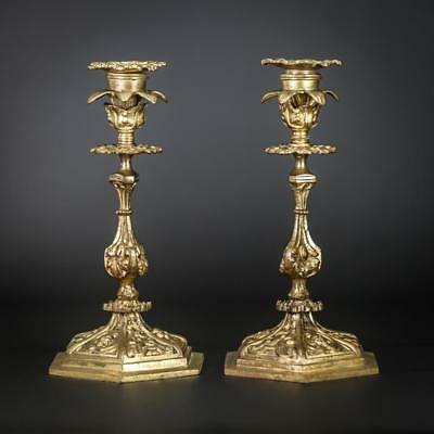 Pair of Candlestick | Two Baroque Gilt Candle Holders | 2 Gilded Bronze | 9""