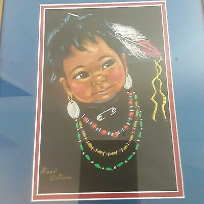 Pastel Painting Hazel Ostrom Native American Indian Child Portrait Framed Cherub