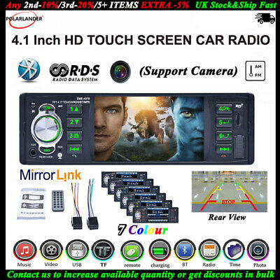 4,1'' 1 DIN RDS AM FM Autoradio Touch Screen SD Stereo Bluetooth Lettore MP5 AUX