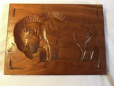 Folk Art Hand Carved Buffalo Plaque Hardwood  Signed By Artist 1983 Rustic Prim