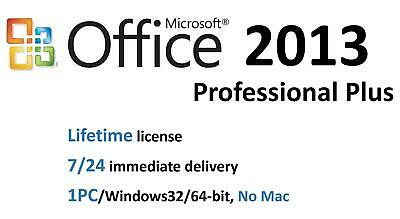 Microsoft Office 2013 Professional Plus License Key 32/64bit/1PC/Lifetime