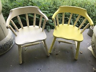 Lot-2 VTG-CHILD TODDLER SPINDLE-BENT WOOD CHAIR-Painted-Yellow/White-FARMHOUSE
