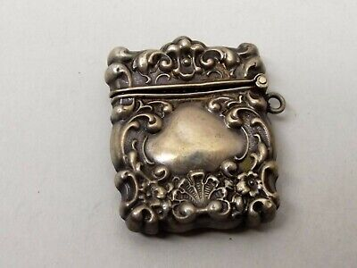 Antique Sterling Silver Stamp Box Case Pendant Chatelaine Ornate Victorian Snuff