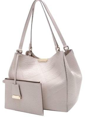 adfd164deb78 Burberry Small Canterbury Grain Check Grey Light Gray Leather Tote Bag  1250