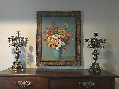 Vintage Painting Still Life Flowers In Vase Oil On Canvas Framed Wall Art Floral