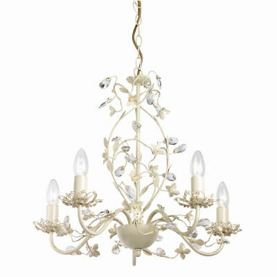 Beautiful 5 Way Flower Large Ceiling Light Fitting Pendant Chandelier Gold Cream