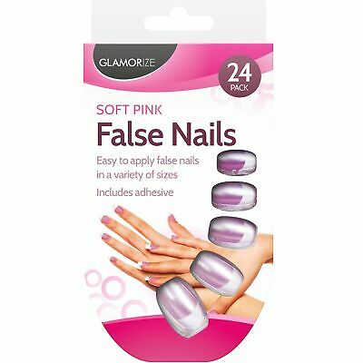 24 Set French Manicure False Nails Finger Tips Includes Adhesive Nail Glue