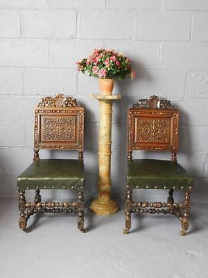 A Good Pair Of Quality Antique Armorial Carved Oak Hall Chairs