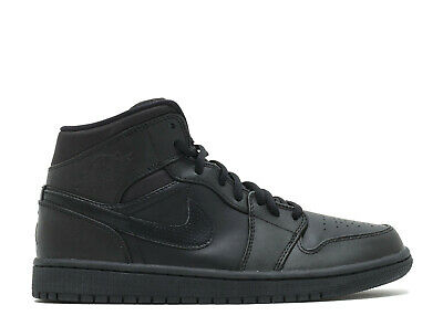 9419769b4c0 Nike Air Jordan 1 Mid TRIPLE BLACK ALL LEATHER WHITE 554724-034 sz 8.5-
