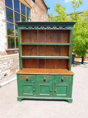 A Stunning Antique Green Painted Pine Country Farmhouse Dresser