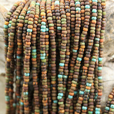 "17/"" 33//0-2//0 Aged Stripe Blue Breeze Picasso Mega mix Czech seed beads 30g"