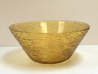 VTG Large Amber Gold Yellow Anchor Hocking Fire King SORENO Salad Serving Bowl