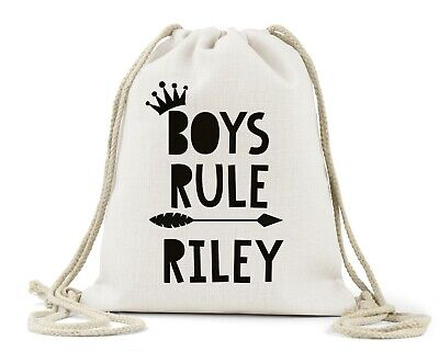 Personalised Drawstring Bag, Boys Rule..Little prince Book bag/P.E/Gym/Nappy bag
