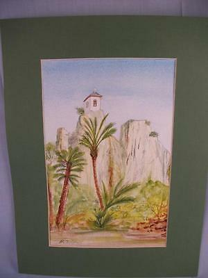 Original Watercolour Painting 'Quadalest Bell Tower' mounted unframed Phil Lynes