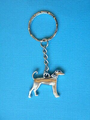 Saluki Dog Charm Keyring Metal Bag Key Ring Silver Tone Gem Lurcher Sighthound