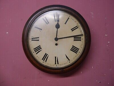 ANTIQUE PENDULUM SCHOOLROOM WALL DIAL CLOCK with LENZKIRCH 8 DAY MOVEMENT