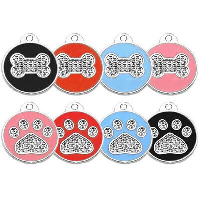 Round Paw/bone Pattern Engraved Dog Id Name Tag Personalized Pet Identity Disc