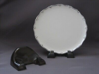 12  Smoke colored New Plate Stands, China, antique, displayers