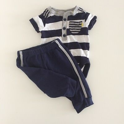 972962e1b Baby Boys DIRKJE Navy Blue Striped Bodysuit And Joggers Outfit Size 3 Months