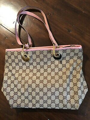 da9f69d1a961 Gucci Beige GG Monogram Eclipse Tote W/Pink Leather Handles & Bottom  Pre-owned