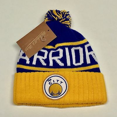 39854dc367a Golden State Warriors Knit Beanie Hat Nba Cuffed Mitchell And Ness High 5  Nwt