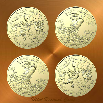 2019 MR SQUIGGLE ... 4 x $1 COINS ... UNC. from Folder ... Registered Post .. #6