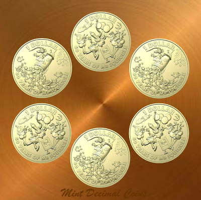 2019 MR SQUIGGLE ... 6 x $1 COINS ... UNC. from Folder ... Registered Post .. #5