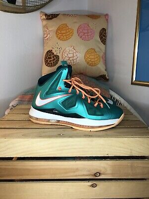 the latest 787d8 f59a9 Nike Lebron James X 10 Setting Atomic Teal Total Orange White Size 8.5  Dolphins