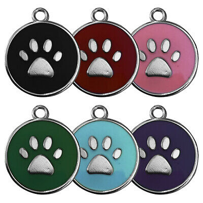 Round Colour Paw Engraved Dog Id Name Tag Personalized Pet Identity Disc