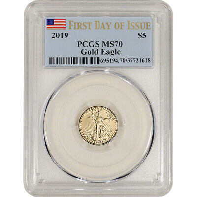 2019 American Gold Eagle 1/10 oz $5 - PCGS MS70 First Day of Issue Flag Label