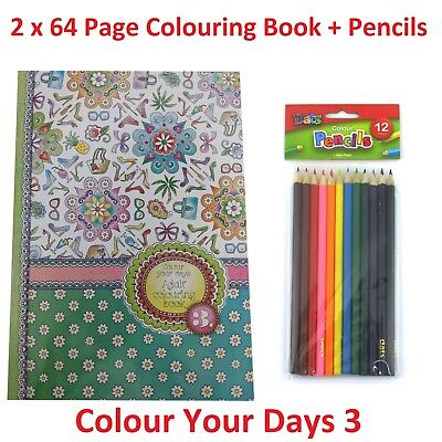 2 x Colour Your Days 3 Adult Colouring Book + 12 Pk Pencils Relaxing Fun 64 Page