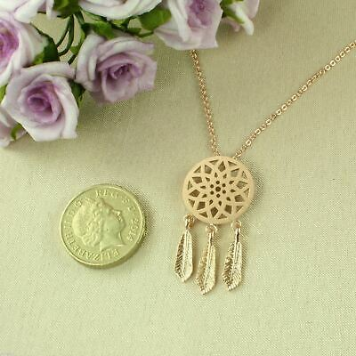Boho Chic Bohemian Style Gold Plated Dreamcatcher Pendant Necklace