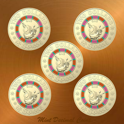 2019 MR SQUIGGLE ... 5 x $2 COINS ... UNC. from Folder ... Registered Post .. #3