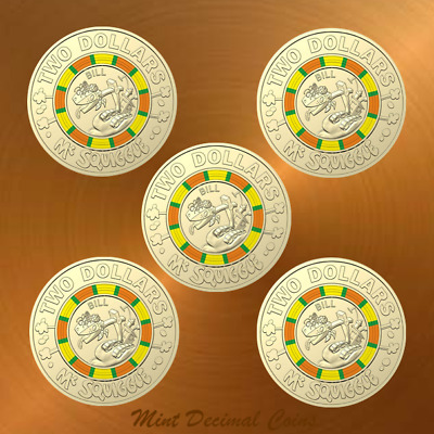 2019 MR SQUIGGLE ... 5 x $2 COINS ... UNC. from Folder ... Registered Post .. #4