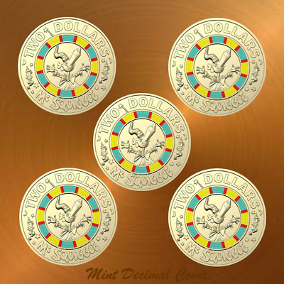 2019 MR SQUIGGLE ... 5 x $2 COINS ... UNC. from Folder ... Registered Post .. #5
