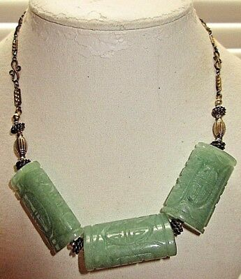 "Vintage 16"" Chinese Celadon Shou Solid Jade Chunky Beaded Heavyweight Necklace"