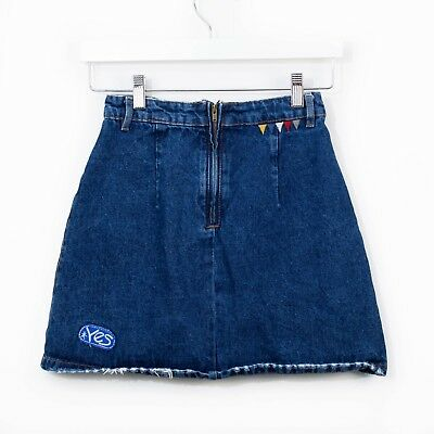 9fe2a6d25d Zara Trafaluc A-Line Denim Jean Skirt Mini Embroidered Patched Blue XS