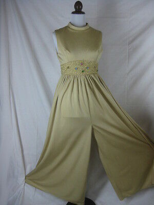 Vtg 60s Gold Beaded Womens Vintage Palazzo Pants Jump Suit W 28