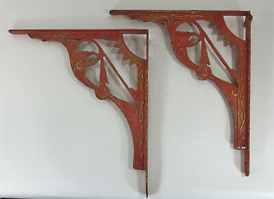 Late Victorian Painted Iron Brackets Chippy Paint Architectural Salvage