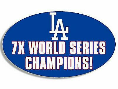 """5"""" Los Angeles Dodgers 7X World Series Champs Car Bumper Sticker Decal Usa Made"""