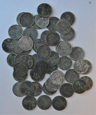 Full Roll (50 Coins) 1943 Steel Wartime Lincoln Wheat Cents - Circulated
