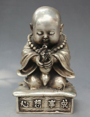 Exquisite Tibeta Silve Carve Little Buddha Sincerity Pray Come True Lucky Statue