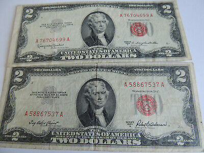 Lot 2 Series 1953C 1953A TWO Dollar $2 Bill Red Seal United States Note Currency