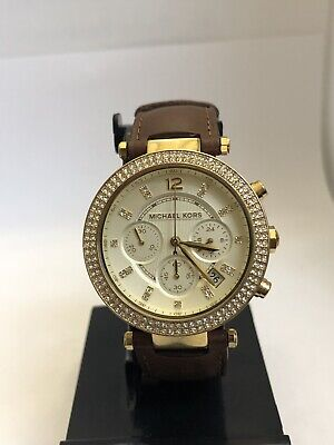 d9e019e1afe4 Michael Kors MK2249 Ladies Women s Watch Chronograph Gold Brown Leather Lot  1809