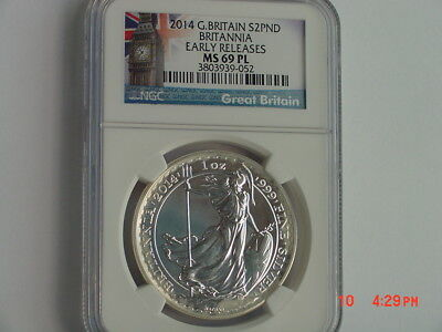 2014 Great Britain £2 2 Pound Britannia 1 Oz Silver Ngc Ms69 Pl Early Releases