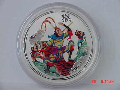 2016 Australia Monkey King Colorized Lunar Year Of The Monkey 1 Oz Silver $1 Unc