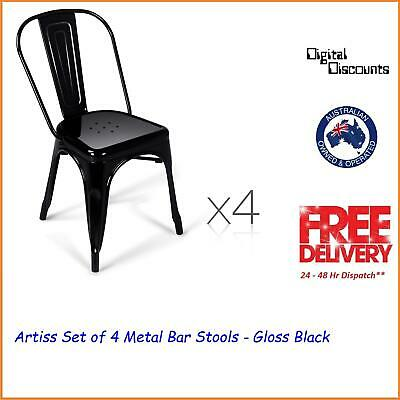 Artiss Set of 4 Metal Bar Stools - Gloss Black