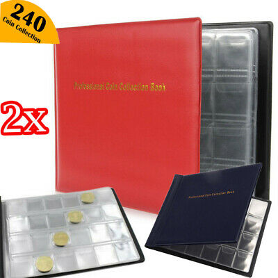2x 240 Pocket Classic Storage Penny Money Album Book Collector Coin Set Holder